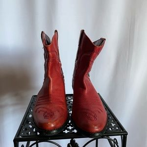 Red Franco Sarto Ankle Cowboy Boot